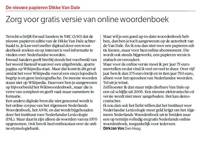 Ingezonden brief in NRC over de Dikke van Dale